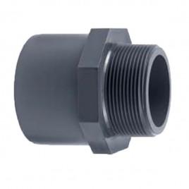 Embout PVC 1 côté fileté et 1 côté à colle dia 50x63x1 1/4»