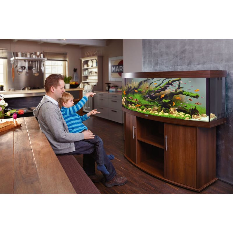 juwel aquarium vision 450 line led bois brun avec meuble avec portes. Black Bedroom Furniture Sets. Home Design Ideas