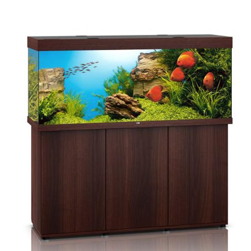 Juwel aquarium rio 450 line led bois brun avec meuble avec for Aquarium avec meuble